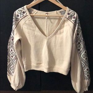 Free people cropped sweater vintage embroidery